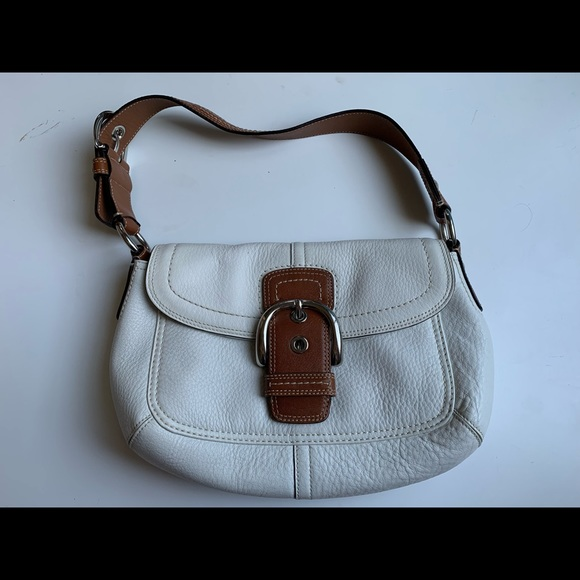 Auth Coach soho flap shoulder bag white leather